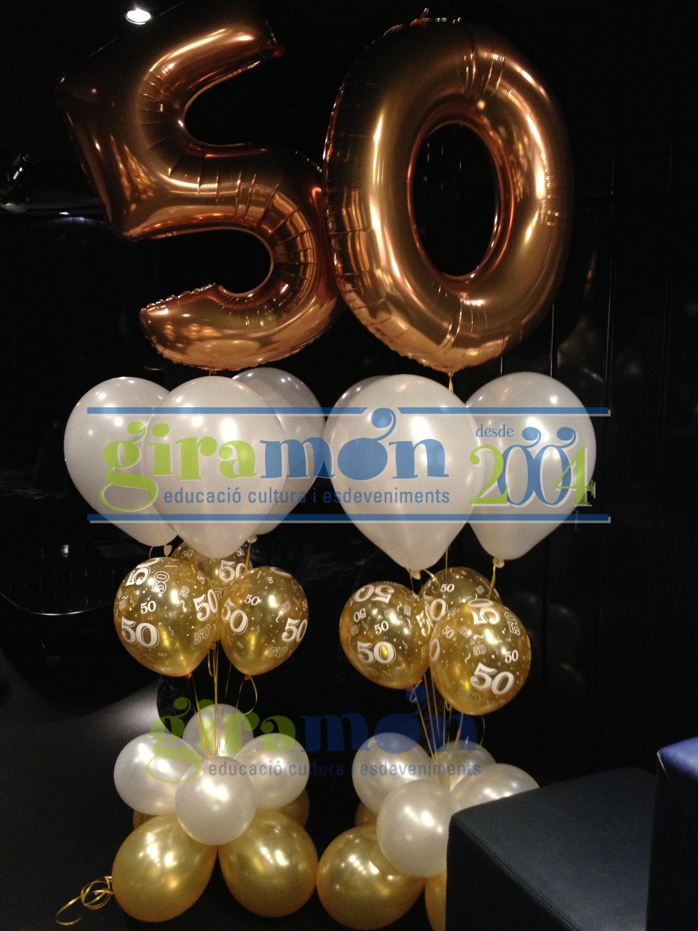 Ramo con globos aniversario giram n giram n for Decoracion con globos 50 anos