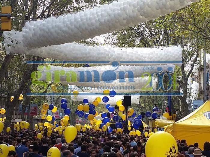 caida globos con redes de 1300 globos