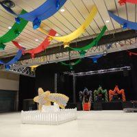 decoración con telas y globos polideportivo
