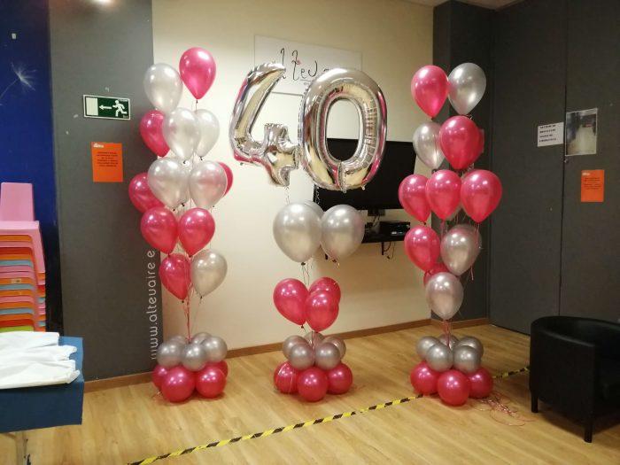 ramos de globos 40 aniversario