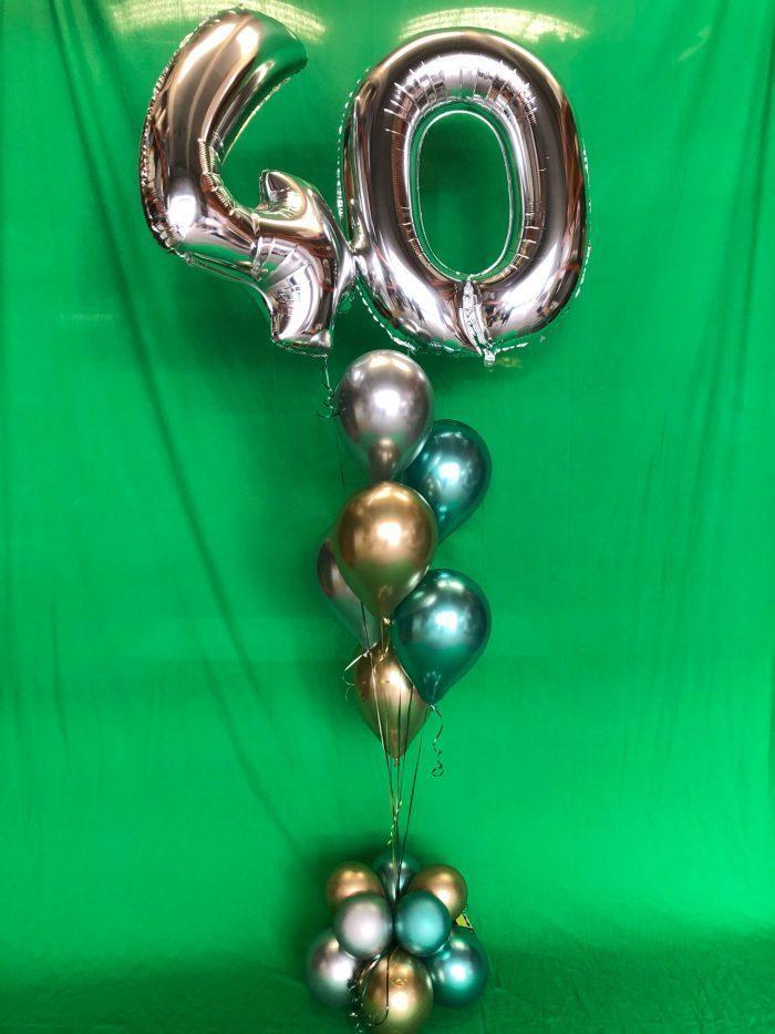 Ramo aniversario globos cromados Ref 009