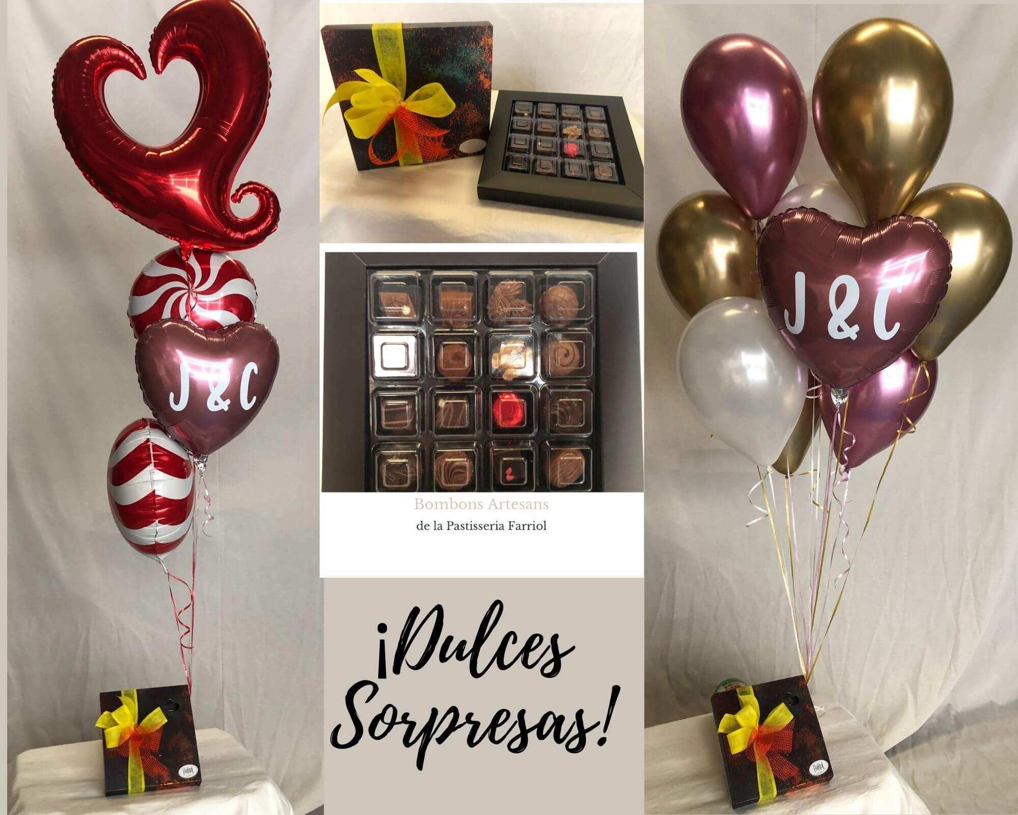 ¡Dulces Sorpresas! entrega de bombones y globos a domicilio